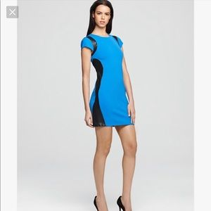DVF fitted dress with leather inserts